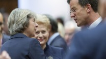 October 20, 2016 - Brussels, Belgium: Prime Minister of the United Kingdom Theresa May (L) is talking with the Dutch Prime Minister Mark Rutte (R) during the first day of a 2 days EU Summit. EU Leaders met for a two-day summit to discuss migration, trade and Russia, including its role in Syria. (Thierry Monasse/Polaris)